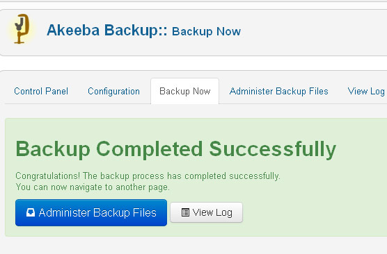 Akeeba Backup copia completada